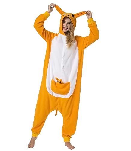 Pijama Animal Entero Unisex con Capucha Cosplay Pyjamas Ropa de Dormir Traje de Disfraz para Festival de Carnaval Halloween Navidad (Canguro, L)