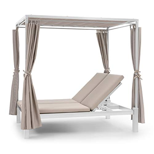 blumfeldt Eremitage Double Sunbed - Stahl-Rahmen, einziehbares Sonnendach, 4 Seitenvorhänge, Sheer Luxury: Kissen mit hochwertigen Bezügen, Rückenlehnen verstellbar, max. 220 kg, Creme
