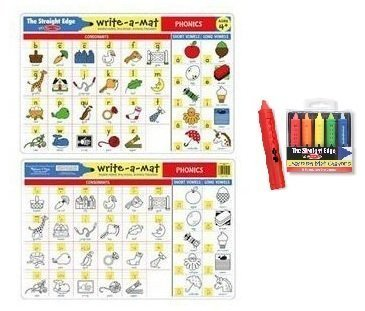 Melissa & Doug Phonics Learning Place Mat with Wipe-Off Crayons