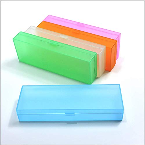 ANNIUP Bleistiftbox Mehrzweck-Box langlebiger Kunststoff PP Bleistiftbox mit Deckel Schnappverschluss für Bleistifte und Stifte 4 Stück--Zufällige Farbe