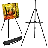 Yaheetech Portable Easel Art Stand for Painting 52-160cm Adjustable Studio Easel for Amateurs/Artists Folding Display Stand for Canvas/Poster/Boards Sketching Painting Stand with Carry Bag Black
