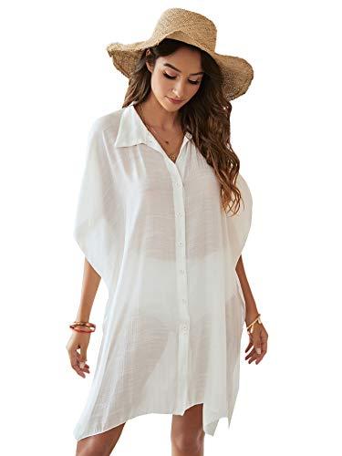 Verdusa Women's Button Down Short Sleeve Sheer Cardigan Kimono Swimsuit Cover Up White XL