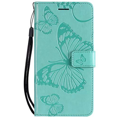 Yiizy Handyhüllen für Huawei Honor 8A Ledertasche, Schmetterling 3D Stil Lederhülle Brieftasche Schutzhülle für Huawei Honor Play 8A hülle Silikon Cover mit Magnetverschluss Kartenfächer (Grün)