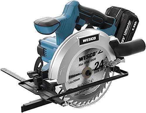WESCO Sega Circolare 18V 4.0Ah, 4000RPM Sega a Batteria Li-ion 4.0Ah Ricaricabile Velocità Variabile, Profondità e...