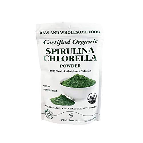 Chlorella Spirulina Powder, Organic, Non-GMO, Cracked Cell Wall, Alkalizing, High Protein, Vegan by Cherie Sweet Heart (16 oz)