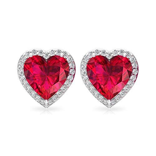 3,2 Karat Rubin Solitär Ohrstecker, IGI zertifizierter Diamant Edelstein Ohrring, IJ-SI Diamant Brautjungfer Ohrring, Vintage Statement Ohrring, 14K Weißes Gold, Paar