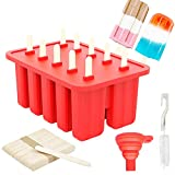 Popsicle Molds 10 Pieces Ice Pop Molds Reusable Silicone Ice Popsicle Makers Easy Release with 50 Popsicle Sticks, Cleaning Brush, Silicone Funnel, for Homemade Popsicle Toddlers Kids, Adults, Red