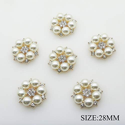 Lot de 30 Boutons Perles 28 mm x 26 mm Dorées rondes plates Perle Ornement Strass DIY Accessoires