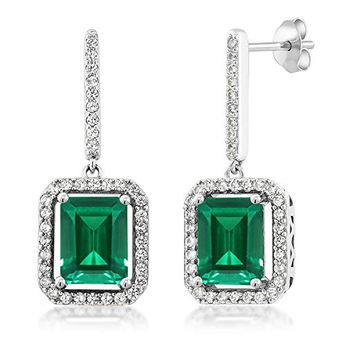 Gem Stone King 925 Sterling Silver Green Simulated Emerald Earrings For Women (4.96 Cttw Emerald Cut 9X7MM)