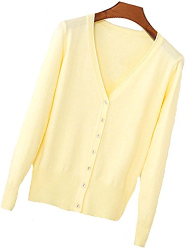 S.S Womens V-Neck Button Down Long Sleeve Crew Neck Soft Classic Basic Knit Cardigan Sweater (S-6X) (Large, Light Yellow)