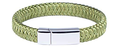 LAUBLUST Pulsera trenzada para hombre, color verde, longitud aprox. 21 cm, cierre de acero inoxidable, regalo para hombres