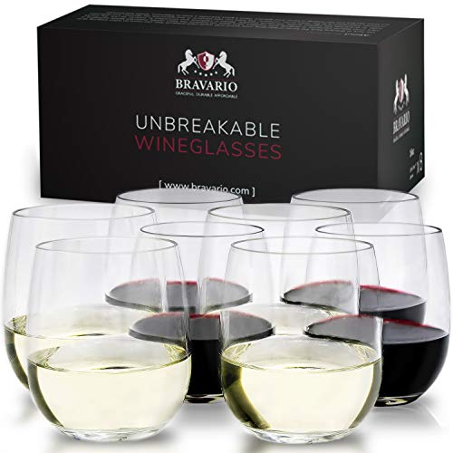 Unbreakable Stemless Wine Glasses Set of 8 Shatterproof Non-Breakable No Stem Tritan Plastic Outdoor Drinkware Tumbler Cups Dishwasher-Safe Goblets for Pool Parties Camping (8, 16 oz) by Bravario