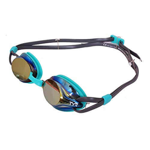 TYR Kids Velocity Mirrored Goggles, Gold/Mint/Grey, One Size, Model:LGVM