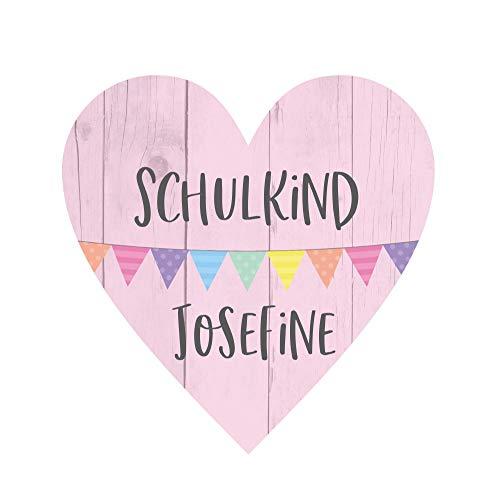 KT-Schmuckdesign Deko Herz aus Holz in rosa mit Wunschtext, Wimpelkette-Motiv und Schriftzug Schulkind, Kinder Wandbild als Wand-Dekoration zur Einschulung, 14 x 14 cm