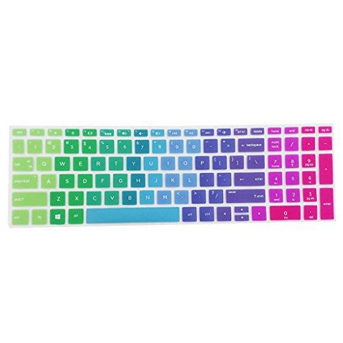 KESOTO Protector de Teclado HP Ultrafino de Silicona Suave, Multicolor - Rainbow, para HP 15-BF 14-BF 15ab
