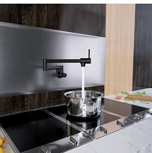 Schwarz Küchentopf Füllstoff Klapp Wasserhahn bleifrei Messing Doppelgelenk Schwenkarm Waschbecken Wasserhahn Gelenkwandhalterung Zwei Griff