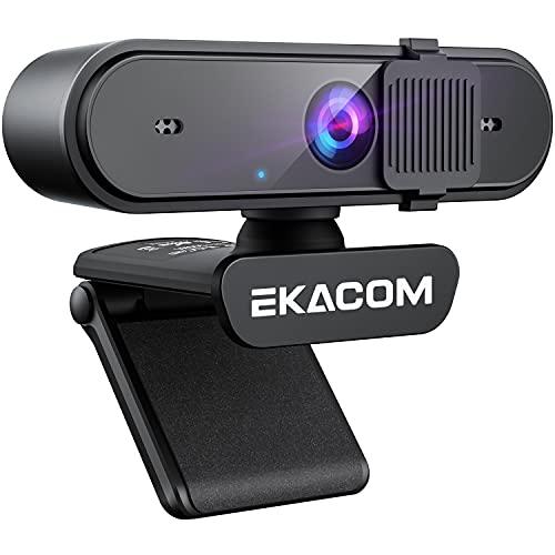 EKACOM 1080P HD Webcam with Microphone, Software Control & Privacy Cover, Auto Focus, 360° rotating...