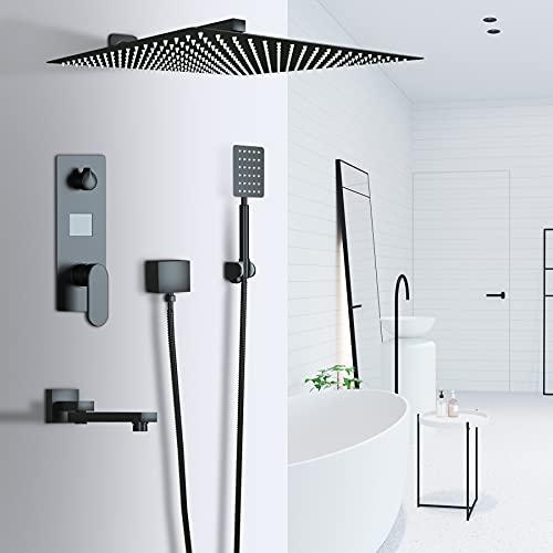 Suguword 3-Wege Duschsystem Unterputz LCD Temperatur-Anzeige Schwarz Matt mit Quadrat 30cm * 30cm über Duschkopf Regendusche,Handbrause Dusche Armatur und Badewanne Duschset,Edelstahl und Messing