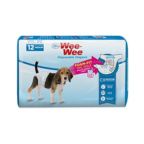 Four Paws Wee-Wee Disposable Dog Diapers 12 Count Medium