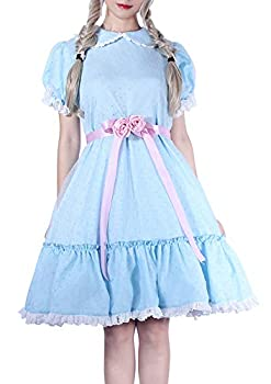 ROLECOS The Grady Twins Costume Blue Creepy Sister Scary Doll Lolita Dress Halloween Party L Blueb