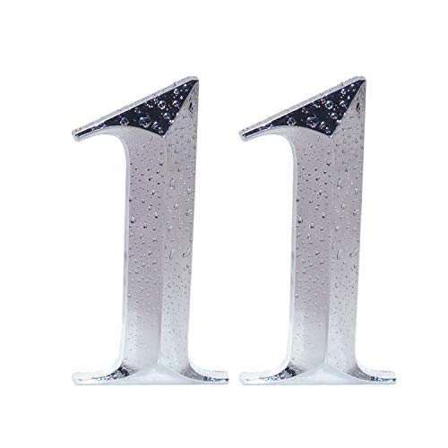 Two Pieces House Numbers, 3D Self-Adhesive Mailbox Numbers, Address Numbers for Apartment, Hotel, Door, Room Waterproof, Shiny Silver Numbers 1
