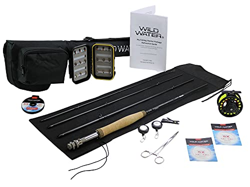 Wild Water Fly Fishing 7 Foot, 4-Piece, 3/4 Weight Fly Rod Deluxe Complete Fly Fishing Rod and Reel Combo Starter Package