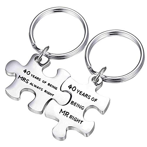 RQIER Happy Anniversary 40th Ruby Wedding Anniversary Couples Puzzle Keychain Set Gift for Couple Mom Dad Grandma Grandpa (Keychain Set)
