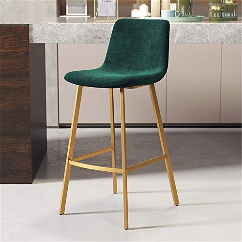 PIAOLING High Stools Contemporary HighBack, Velvet Seat Counter Height Bar Stool with Backrest & Footrest Metal Legs Dining Chair for Kitchen Restaurant Pub Café Max. Load 200kg in Green