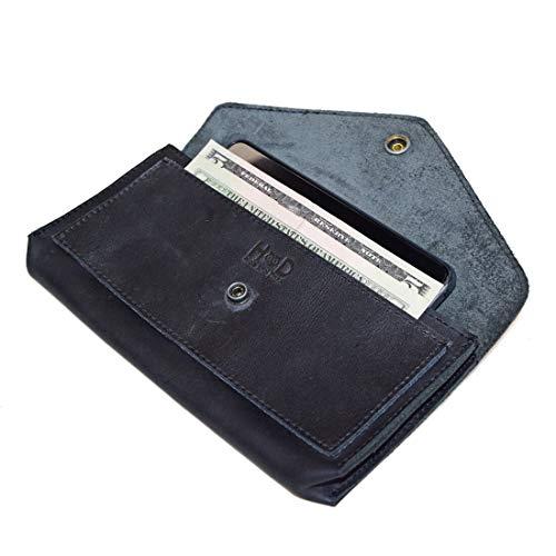 Hide & Drink, Geldbörse aus Leder, groß, für Damen, flach, handgefertigt, Anthrazit / Schwarz