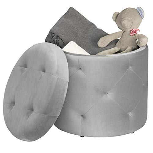 EUGAD Sitzhocker runde Hocker Sitzbank Samt Hocker, Ottomane Aufbewahrungsbox mit Stauraum, ca.27L Sitztruhe Deckel abnehmbar, 39,5x39,5x40cm, Hellgrau 0044DZ