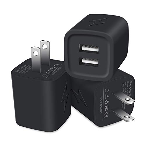 USB Wall Charger, Charger Plug, SIXSIM 3Pack 2.1A/5V Dual Port USB Charger Cube Power Adapter Charging Block Box Compatible iPhone SE/11/XS Max/XR/X/8/7/6S Plus, Samsung Galaxy S20 S10 S9 S8, LG, Moto