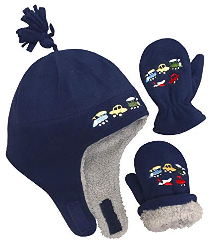 N'Ice Caps Little Boys and Baby Sherpa Lined Fleece Embroidered Hat Mitten Set (2T-4T, Navy 1)