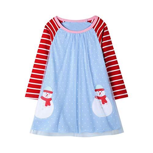 Cuteelf Mädchen Rock koreanische süße Ozean gestreifte Prinzessin Kleid Mesh Kleid Weihnachten Schneemann Baby Weihnachten Print Tüll Prinzessin Streifen Kleid Set