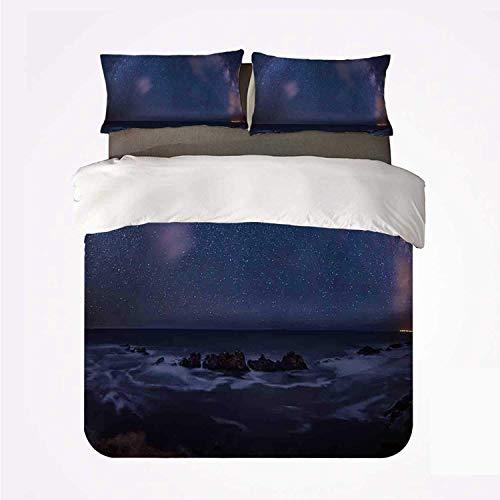 La enorme Vía Láctea espacial sobre el mar parece ser un halo de materia oscura esparcido en el centro solar ,Juego de ropa de cama con funda nórdica de microfibra y 2 funda de almohada - 140 x 200 cm