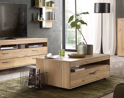 Couchtisch Piet Eiche Bianco NB, 115x45x65cm Tisch Beistelltisch Sofatisch Kaffeetisch Wohnzimmertisch großes Ablagefach großer Schubkasten
