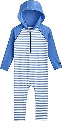 Coolibar UPF 50+ Baby Finn Hooded One-Piece Swimsuit - Sun Protective (6-12 Months- Seashore Blue/White Stripe)