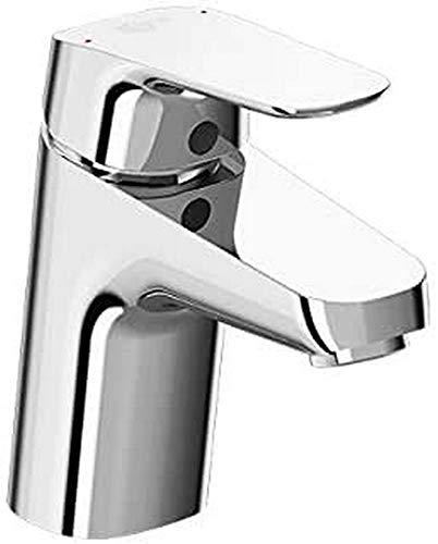 Ideal Standard B1708AA Armatur/Waschtischarmatur CERAFLEX | + Metall Zugknopf-Ablaufgarnitur G1 ¼, Befestigung von unten, Starrer Gussauslauf | Ausladung 101 mm, Auslaufhöhe 68mm, Oberfläche: Chrom