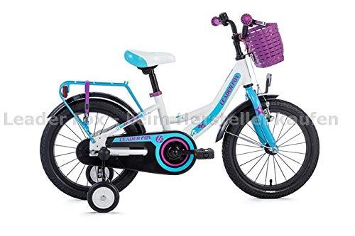 Leaderfox 16 Zoll Leichtes Alu Kinder Fahrrad Leader Fox Busby Mädchen Rad weiß blau Korb