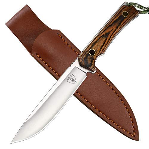 AUBEY D2 Jagdmesser Feststehend, Survival Messer Outdoor Überlebensmesser Holzgriff, Fahrtenmesser Gürtelmesser für Camping Jagd