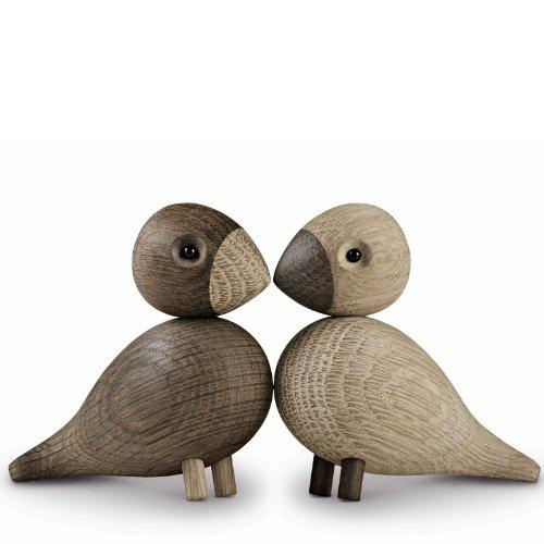 Lovebirds/oiseaux - Figurines en bois marron/2 figurines/H. 8,8cm