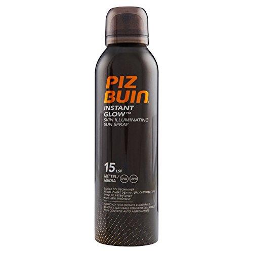 PIZ BUIN Instant Glow Skin Illuminating Sun Spray LSF 15 – Wasserfestes Sonnenschutz Spray mit zartem Goldschimmer Effekt – Nicht fettend – 150ml