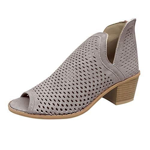 Damen Stiefel mit niedrigem Absatz Peep Toe Schuhe Retro hohle Knöchel dicker Absatz Römische Damen Stiefel - Schwarz - 68