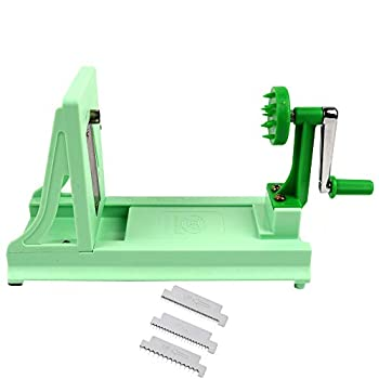 Vollum Japanese Turning Vegetable Spiral Slicer with 1 Straight-Edged Blade and 3 Serrated Blades