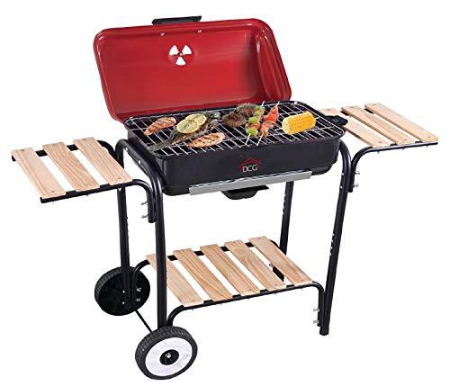 barbecue elettrico con coperchio Bistecchiera elettrica berbecue con stand ruote DCG BQS2498 griglia 2300W Rotex