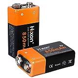 Hixon 9V Block Batterien Wiederaufladbare Li-Ion Akku 9V 850mAh für Rauchmelder Multimeter Alarmsystem Walkie Talkie