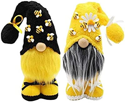 Flyglobal Bee Gnome Gonks Plush Sunflower Gonk Gnomes Scandinavian Tomte Nisse Swedish Honey Bee Home Farmhouse Kitchen Decor Bee Shelf Summer Tiered Tray Decorations Spring