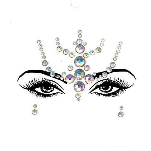 Anxianwin 3pcs EDM Face Luminous Crystal Diamond Sticker, Halloween Ghost Face Sticker Eyebrow Face Sticke (YJ-03)