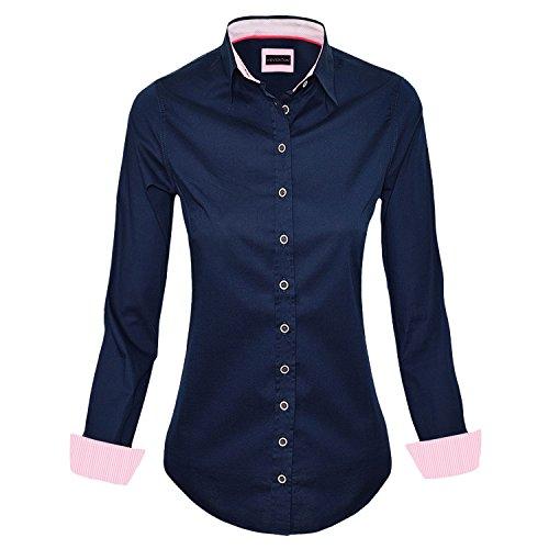 HEVENTON Koszula bluzka damska długi rękaw granatowy rozmiar 34 do 50 - elegancka i wysokiej jakości, grantowy, 40 PL