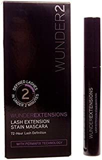 WUNDER2 WUNDEREXTENSIONS Lash Extension Stain 72 Hours Long Lasting Mascara Black, Lenghtening Mascara