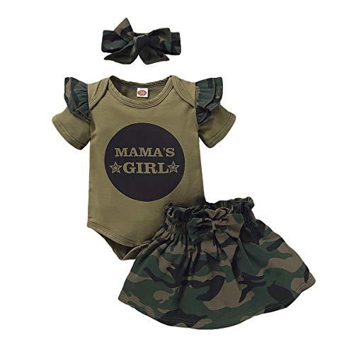 FYMNSI Conjunto de ropa de verano para bebé, diseño de camuflaje, camiseta y falda estampada, 3 piezas / 2 piezas Armeegrün Mama's Girl 12-18 Meses